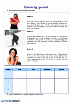 Interactive worksheet Self introduction