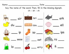 Interactive worksheet Digraphs Activity