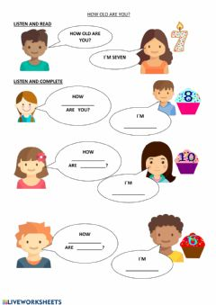 Interactive worksheet How old are you