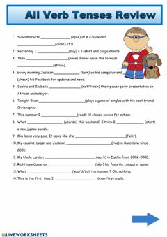 Interactive worksheet All Verb Tenses Review