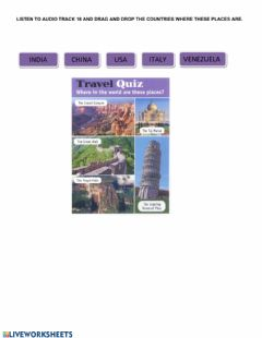 Interactive worksheet Travel quiz