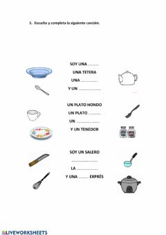 Interactive worksheet soy una taza