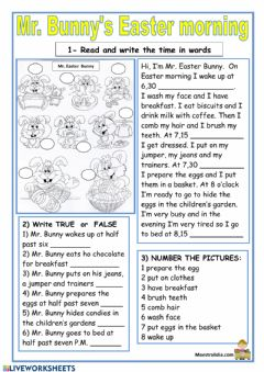 Interactive worksheet EASTER READING AND COMPREHENSION