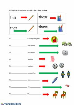 Interactive worksheet This, that, these, those
