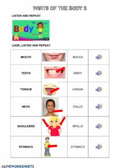 Interactive worksheet Parts of the body 2