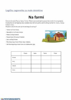 Interactive worksheet Mozgalica-Farma