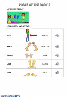 Interactive worksheet Parts of the body 3