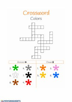 Interactive worksheet Crossword colours