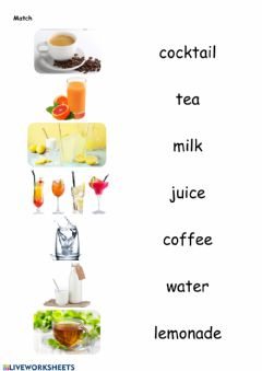 Interactive worksheet Drinks