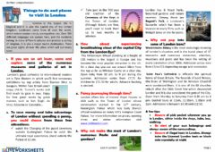 Interactive worksheet Reading leaflet attractions london