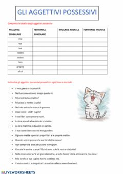 Interactive worksheet Gli aggettivi possessivi