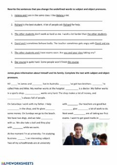 Interactive worksheet Subject and object pronouns