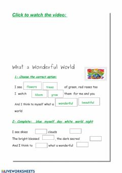 Interactive worksheet Song: What a wonderful world