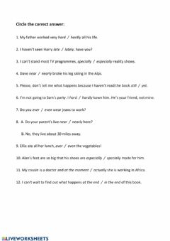 Interactive worksheet B2.2 Adverbs and adverbial phrases