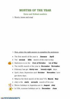 Interactive worksheet Month of the year