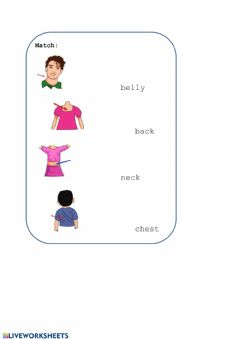 Interactive worksheet Match:Body parts