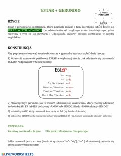 Interactive worksheet Estar+ gerundio