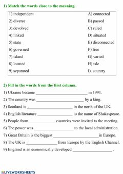 Interactive worksheet The UK