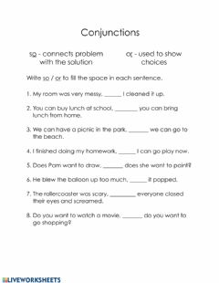 Interactive worksheet Conjunctions or-so