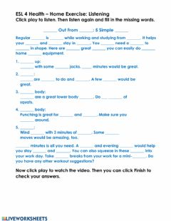 Interactive worksheet Home Exercise: Listening