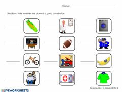 Interactive worksheet Goods and services