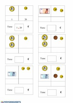 Interactive worksheet Monedas y billetes 8