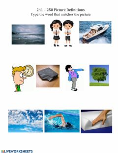 Interactive worksheet Matching Definition pictures 241-250