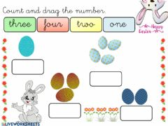 Interactive worksheet Count 1-4 Easter