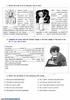Interactive worksheet Verb to be in the Present Simple & the Past Simple