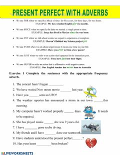 Interactive worksheet Present perfect adverbs