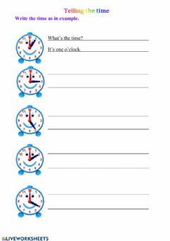 Interactive worksheet Telling the time