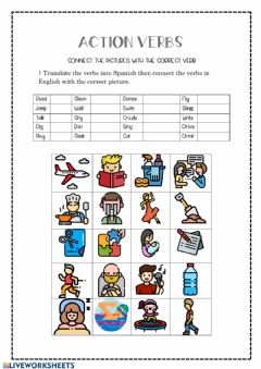 Interactive worksheet Actions Verbs