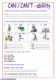 Interactive worksheet Can-can't