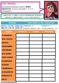 Interactive worksheet Tabella verbi