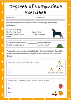 Interactive worksheet Degrees of comparison