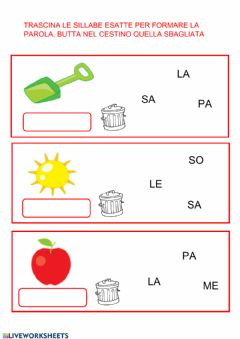 Interactive worksheet Trascina i cartellini