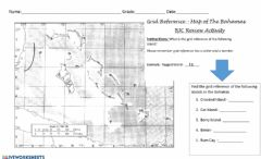 Interactive worksheet Grid Reference - Map of the Bahamas