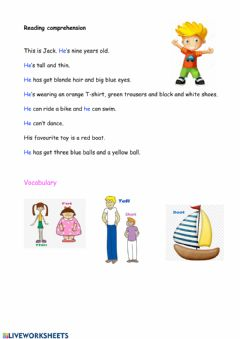 Interactive worksheet Reading comprehension: Jack