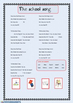 Interactive worksheet The school song