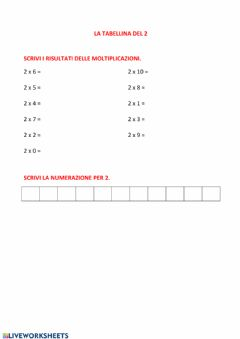 Interactive worksheet Tabellina del 2