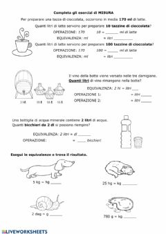 Interactive worksheet Quesiti di misura