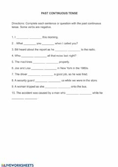 Interactive worksheet Past continuous listening exercise