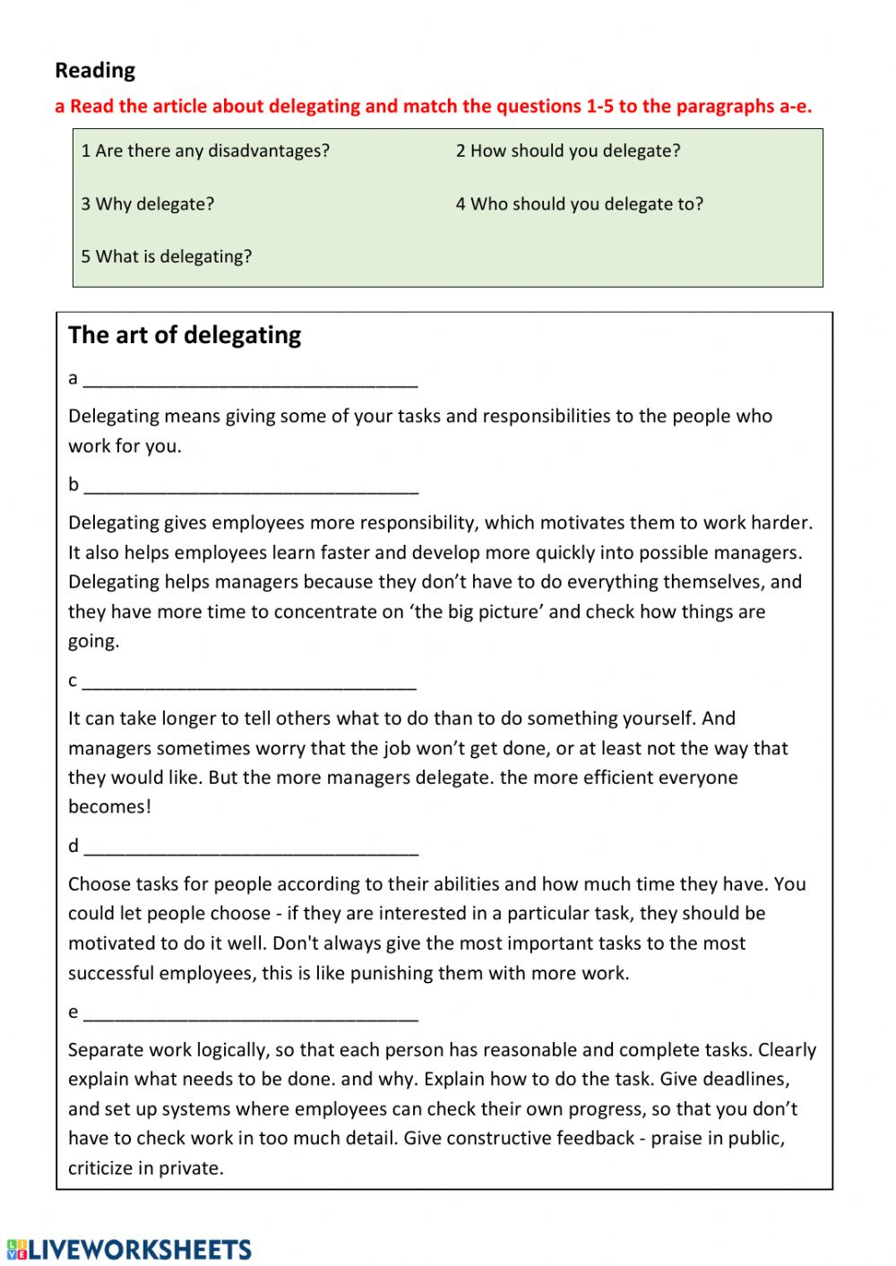 Delegation Interactive Worksheet