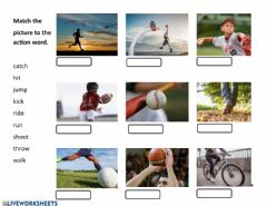 Interactive worksheet Sport Action Words Match Up