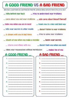 Ficha interactiva A good friend VS  A bad friend