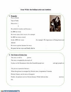 Interactive worksheet Oscar Wilde and The Picture of Dorian Gray