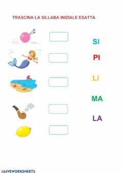 Interactive worksheet Sillaba iniziale