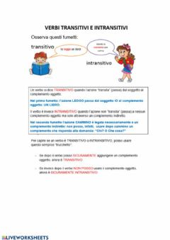 Interactive worksheet Verbi transitivi e intransitivi