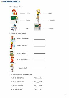 Interactive worksheet He is or she is