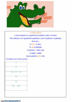 Interactive worksheet Verbo essere - presente